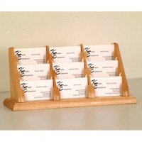 9 Pocket Countertop Business Card Holder - Light Oak