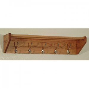 32 Inch Solid Oak Coat & Hat Rack With 5 Nickel Hooks - Light Oak