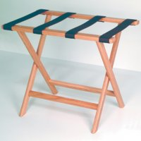 Deluxe Straight Leg Luggage Rack in Light Oak - Brown Straps