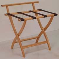 Light Oak Luggage, Suitcase, or Briefcase Rack - Brown Straps