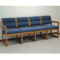 Office Waiting Room Four Seat Sofa - Medium Oak - Powder Blue