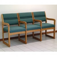 Reception and Waiting Room Three Seat Chair w/Center Arms - Medium Oak - Foli