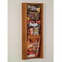 3 Pocket Solid Medium Oak and Acrylic Literature Wall Display Rack