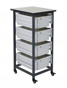 DMD 4 Bin Mobile Storage Unit, Four Large 6 Inch Deep Tub Bins
