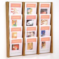 12 Pocket Oak and Acrylic Literature Wall Display Rack - Medium Oak