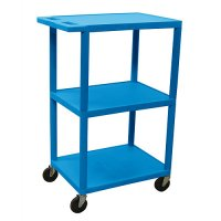 Small 3 Shelf Tall Medical Cart - Gray, Putty, Red, Blue - HE42