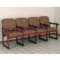 Office Waiting Room Four Seat Chair w/Center Arms - Mahogany - Waterco