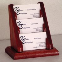 3 Pocket Countertop Business Card Holder - Mahogany