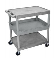 Heavy Duty Utility Cart - Top / Bottom Flat Shelf - Middle Tub