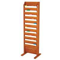 Chart Rack and File Holder, Free Standing Floor Rack, 10 Pockets, Oak Wood Finish