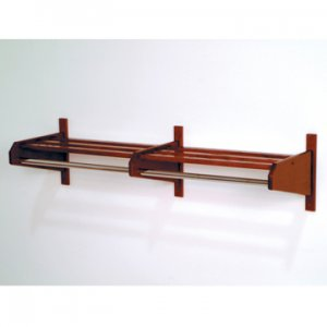 "48"" Mahogany Coat & Hat Rack With 5/8"" Diameter Chrome Hanger Bar"