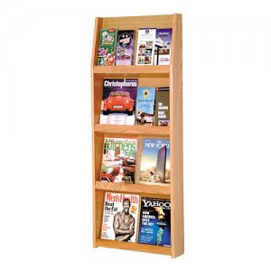 8 Magazine / 16 Brochure Oak Wall Display Literature Rack