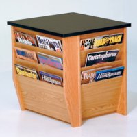 End Table with Magazine Pockets w/Black Granite Look Top - Light Oak