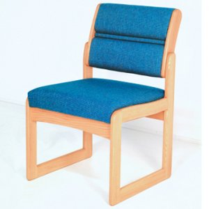 Reception and Waiting Room Armless Guest Chair - Light Oak - Powder Blue
