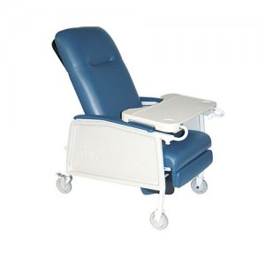 3 Position Patient Room Recliner with Lap Tray / Table - Blue Ridge