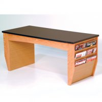Coffee Table with Magazine Pockets w/Black Granite Look Top - Light Oa