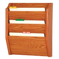 DMD Wood File Holder/Rack, Wall Mount, 3 Pocket Legal Size, Medium Oak Finish