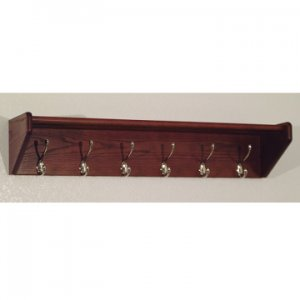 36 Inch Solid Oak Coat & Hat Rack With 6 Nickel Hooks - Mahogany