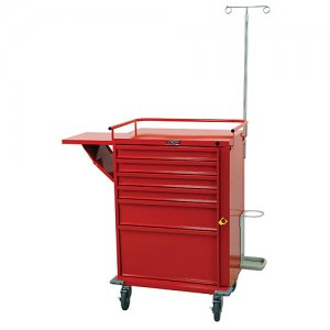 V-Series 6 Drawer Medical Crash Cart with Emergency Accessory Package