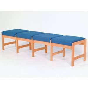Four Seat Bench - Light Oak - Powder Blue