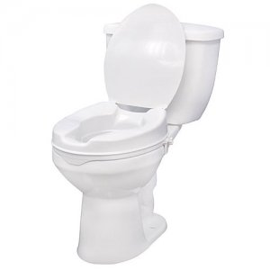 Toilet Seat (Raised) with Lock and Lid - 4 Inch Seat Height