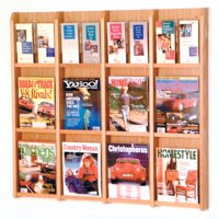 12 Magazine/24 Brochure Wall Display with Brochure Inserts - Light Oak