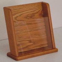 Countertop Literature Display with Business Card Pocket - Medium Oak