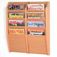 8 Pocket Wall Mount Magazine Rack - Light Oak