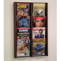 8 Pocket Solid Oak and Acrylic Literature Wall Display Rack - Mahogany