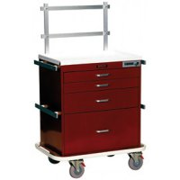 4 Drawer Specialty Medical Anesthesia Cart - Raised Back Rails System