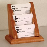 3 Pocket Countertop Business Card Holder - Medium Oak