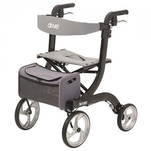 Nitro Black Aluminum Rollator Walker / Seat with 10 inch Front Wheels