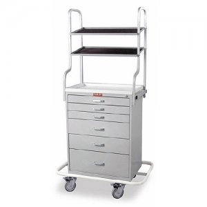 6 Drawer Specialty Medical Anesthesia Cart - Tall Overhead Shelving