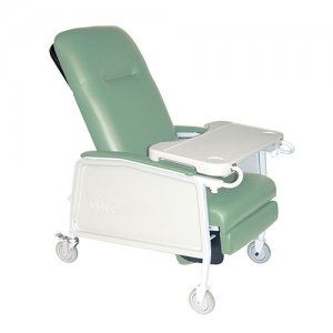 3 Position Patient Room Recliner with Lap Tray / Table - Jade