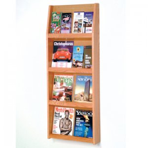 16 Pocket Literature Display - 4Hx4W - Light Oak