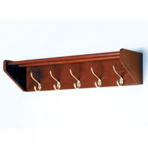 32 Inch Solid Oak Coat & Hat Rack With 5 Brass Hooks - Mahogany