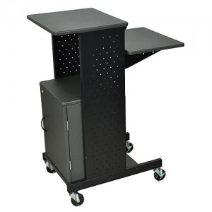4 Shelf Wood and Metal Presentation Cart with Laptop Tray / Cabinet