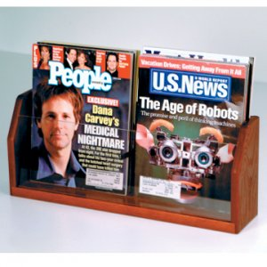 Countertop 2 Pocket Magazine Display - Mahogany
