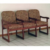 Office Waiting Room Three Seat Chair w/Center Arms - Mahogany - Waterc