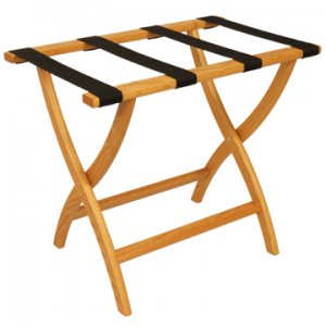 Designer Curve Leg Luggage Rack in Light Oak - Black Straps