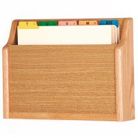 Chart and File Holder, Square Bottom Wall or Desktop, 1 Pocket, Letter Size, Oak Wood Finish