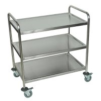 Large 3 Shelf Mobile Stainless Steel Utility Cart - ST3