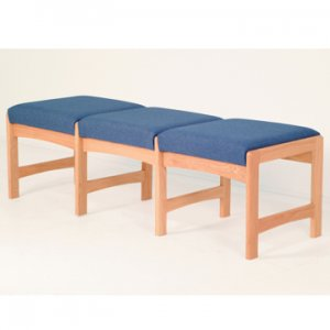 Three Seat Bench - Light Oak - Powder Blue