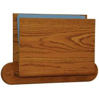 HIPAA Compliant Privacy Chart and File Holder, Open Ended, Oval Wall Mount, 1 Pocket, Letter Size, Oak Wood Finish