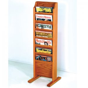 Free Standing 7 Pocket Magazine Rack - Medium Oak