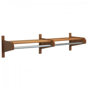 "64"" Solid Oak Coat & Hat Rack With 1"" Diameter Chrome Steel Hanger Bar"
