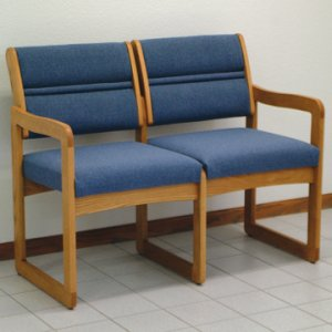 Office Waiting Room Two Seat Sofa - Medium Oak - Powder Blue