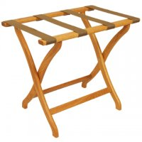 Designer Curve Leg Luggage Rack in Light Oak - Tan Straps