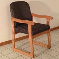 Office Waiting Room Guest Chair - Medium Oak - Arch Slate