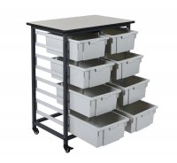 DMD 8 Bin Mobile Storage Unit, 4 Double Rows, Large 6 Inch Deep Tub Bins